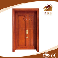 Timber Solid natural wood decorative exterior doors double swing doors, outside use main door design for house