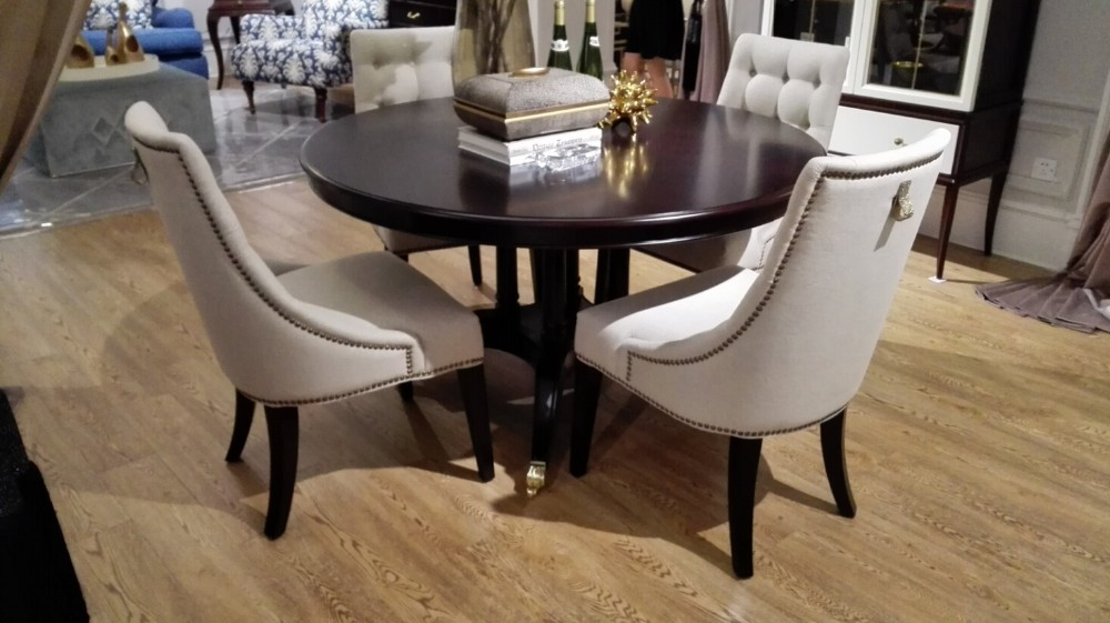 Mahgony wood round dining table set for dining room furniture