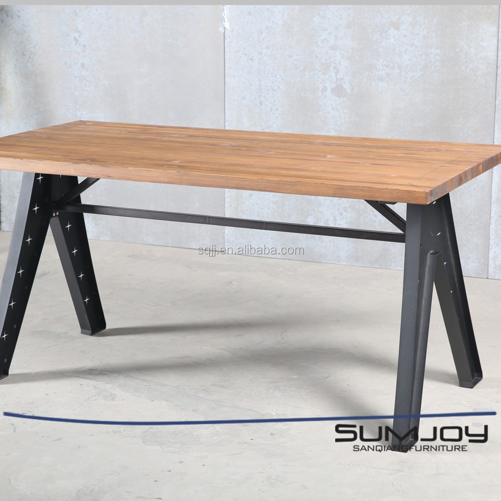 SUMJOY stainless steel Vintage Pine Wood Coffee Table with Metal Legs