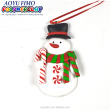Polymer Clay Candy Cane Peace on Earth Ornament Clay dough Xmas Cute Snowman decoration