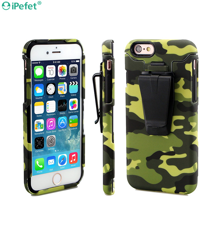 2 in 1 PC+TPU shockproof case for iPhone 6 with belt clip holster case