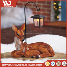 New Inventions In China Art Work Deer Resin Craft Outdoor Led Lighting Solar Light 2017