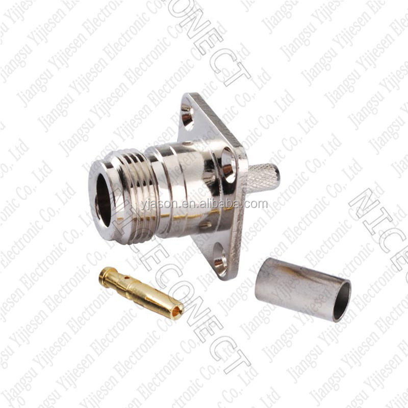 N type Female connector 4 hole Panel Mount Crimp for LMR195 RG58 RG400 RG142 cable RF coaxial adapter