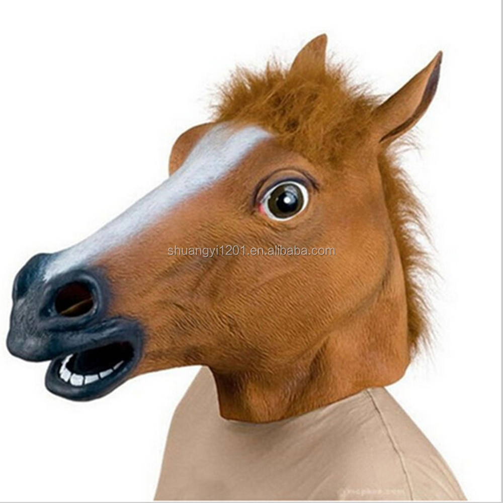 New fashion produce horse head mask creepy halloween costume theater prop latex rubber novelty masks