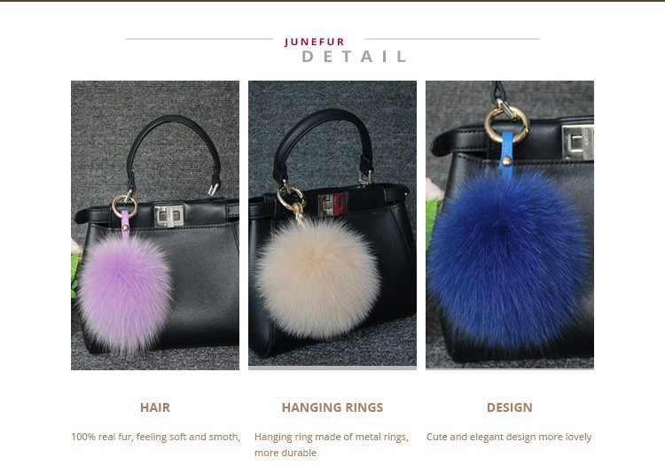 2018 China manufacturer fox fur low price 3d ball shaped metal keychain