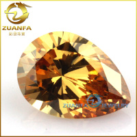 Korean machine cut wuzhou gemstone champagne 3*5mm pear cut zirconia
