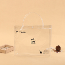Large snap button closure or ziplock plastic pvc shopping clear bag with pipe handles