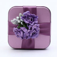 Purple Flowers Square Shape Candy Tin Gift Box