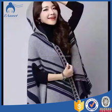 2016 fashion winter women fake pashmina shawl poncho with hooded