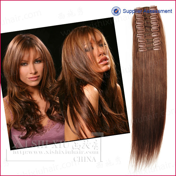 wholesale 100% human easy clips hair extensions gray hair