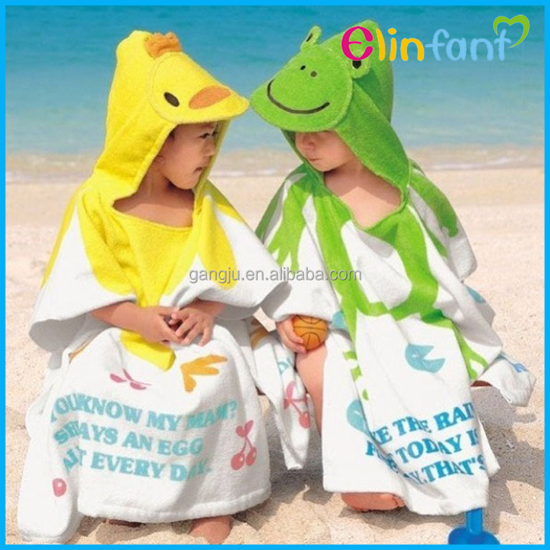 Elinfant cute cartoon baby hooded beach towel 100%cotton
