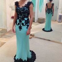 Blue V Neck Black Lace Appliqued Custom Made Floor Length Long Evening Party Wear MD006 tall mother of the bride dresses