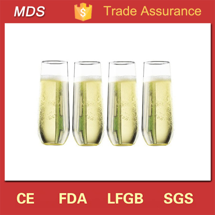 Wholesale bulk stemless champagne flute glass