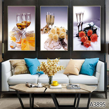 Easter Wine glass Modern art canvas Paintings Creative Flower Wall Art Hanging Pictures for living room home decor
