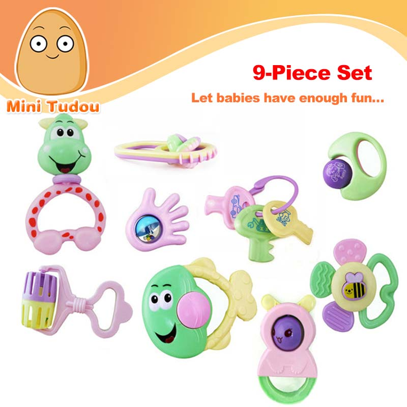 Minitudou Lovely 9PCS Baby Toys Develop Baby Intelligence Plastic Hand Baby Rattle 0-3 Years Gift For Newborn