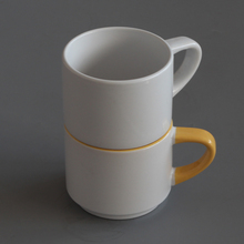 can shaped stackable ceramic coffee mugs