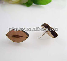 good wood nyc statement stup earring jewelry,hiphop rose flower,lip,map clip earring,custom design stup earring jewelry