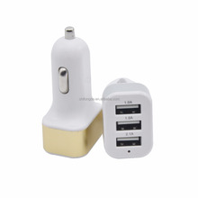 Factory price Metal Alloy 12V 24V Multi port Electric 3 USB Port Car Charger for iPhone Smart Phone