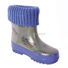 comfortable kawai child rubber shoes with knitted collar ,warm heat preservation rain footwear,vulcanized boots