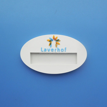 soft rubber insert paper card recycle white embossed logo company staff name badge id tag
