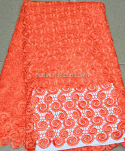 New arrival polyester cord lace fabric african chemical water soluble lace CL1017 orange
