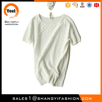 YEEL china garment factory pretty jacquard cotton Quick Dry woman sweater hand making designs