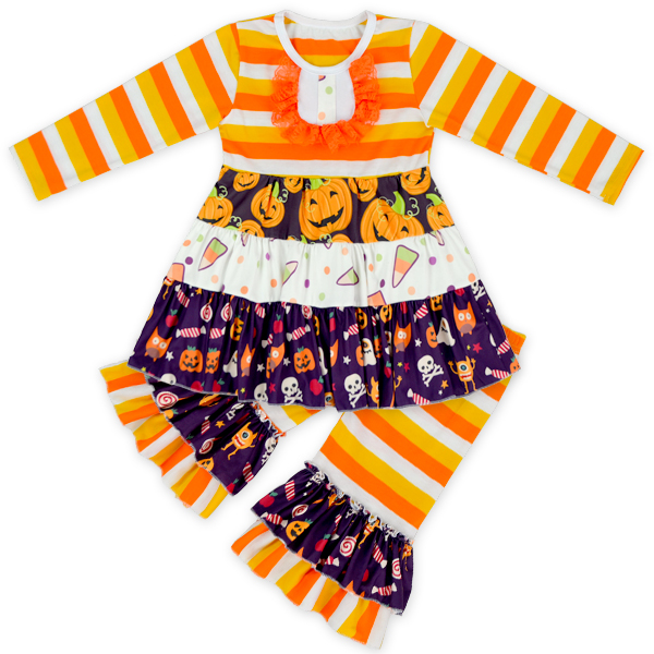 Orange And Black Stripe Pumpkin Ruffle Dress And Capris Children Halloween Ruffle Outfit Kids Clothing Wholesale