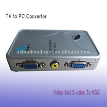 Composite and S-Video to VGA Video Scan Converter,New Video And S-video To VGA ,TV to PC Converters silver color