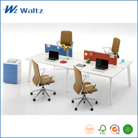 Modern office desk white melamine office desk 4 person office workstations modular