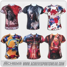 custom made sublimation t shirt printing design with short sleeve