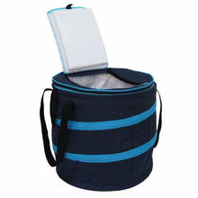 Custom logo printing insulated round food delivery cooler bag with zipper