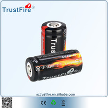 Long lasting power safe battery TrustFire 16340 lithium ion battery 3.7v, Best rechargeable battery for led light with PCB