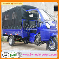 Chongqing three wheel motorcycle scooter /3 wheel truck with roof for sale