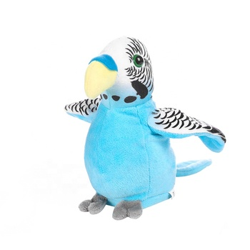 2019 Manufactory Stuffed Plush Blue Color Talking Parrot Toys Soft Singing Bird with Sounds Animal