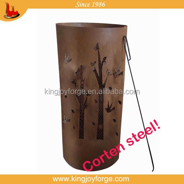 Simple corten steel fire pit fire drum