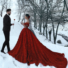 Luxury Floral Red Wedding Dress Plunging Neckline Back See Through Puffy Bridal Gown With Black Veil And Handmade Rose Flower