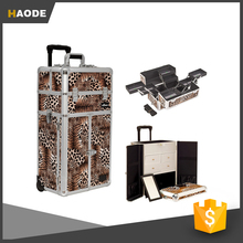 Professional Rolling Aluminum Cosmetic Makeup Case French Door Opening with Split Drawers and Multiple Expandable Trays
