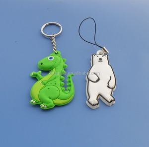 Rubber PVC Cute Dinosaur Bear Pendant Charms Key Holder Cell Phone Strap