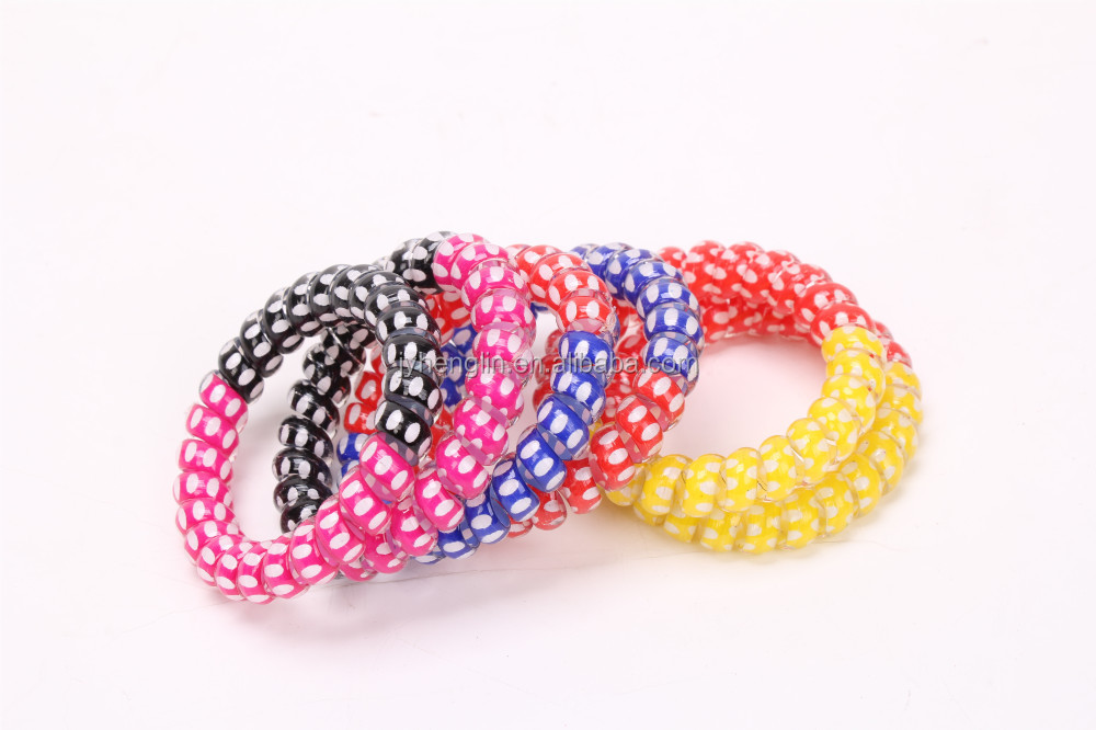 fashion cute customized elastic hair tie/telephone wire hair bands/thick baby hair ties