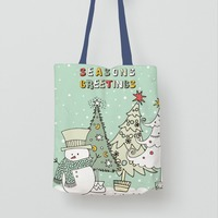 Happy Christmas Cotton Canvas Gift Bag