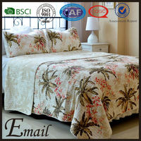 Hawaiian akee print American style bedding set high quality cotton fabric quilt
