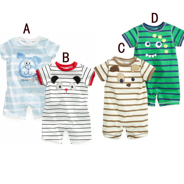 2017 hot style Boy cartoon striped short-sleeved cotton spanish baby clothes wholesale