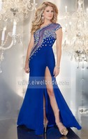 One shoulder beaded long chiffon blue split back see through evening dress for fat women