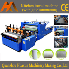 Automatic high speed embossed gluing kitchen paper rewinder machine