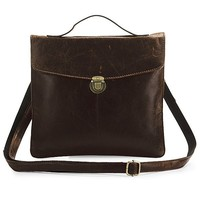 High Quality Drop Shipping Top Grade Fashion Vintage Genuine Leather Tablet Messenger Bag #7073C