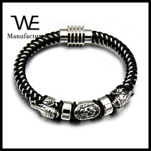 Religious Style Stainless Steel Pharaoh Magnetic Button Leather Bangle Jewelry Wholesale