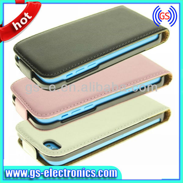Flip cover Real Leather case for iPhone 5S Flip up and down