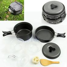 DS-200 DS-300 8pcs Lightweight Outdoor Camping Hiking Cookware Backpacking Cooking Picnic Bowl Pot Pan Set