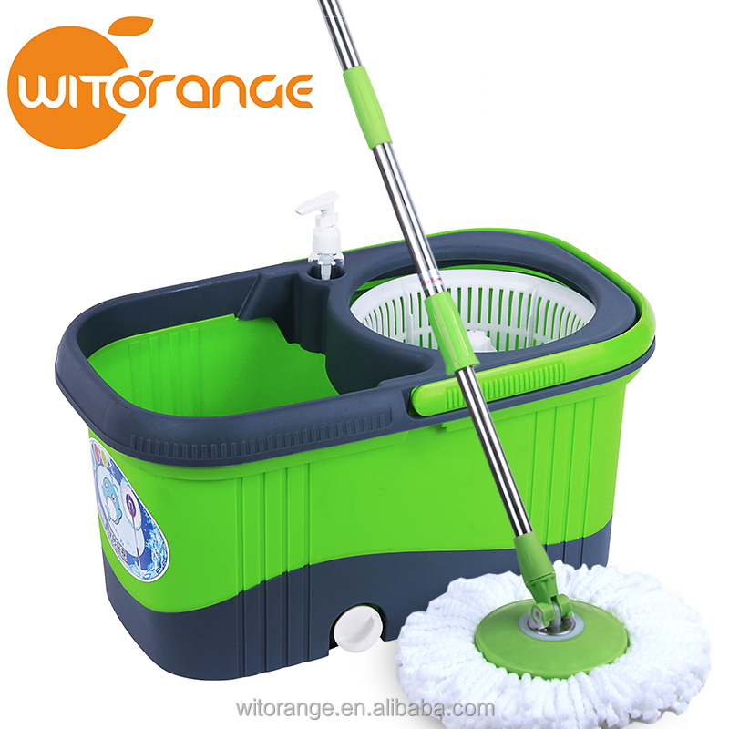 2016 Retail Online Shopping Mop Green and Grey 2 Drivers Hand Press Mop Bucket