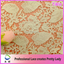 2015Newest design beautiful luxury leaves cotton lace/gold african cord lace fabric